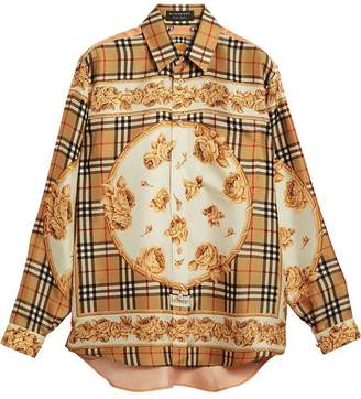 Burberry Archive Scarf Print Silk Shirt