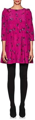 Balenciaga Women's Dotted & Floral Silk Babydoll Minidress