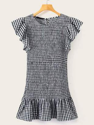 Shein Gingham Ruffle Trim Shirred Dress