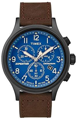 Timex Men's TW4B15900 Expedition Scout Chrono Leather Strap Watch