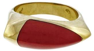 18K Yellow Gold with Coral Ring Size 6.5