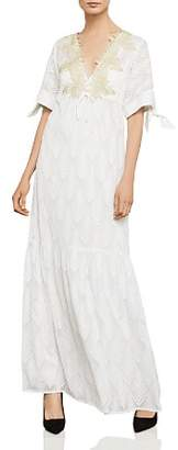 BCBGMAXAZRIA Alysa Embroidered Tie-Sleeve Maxi Dress