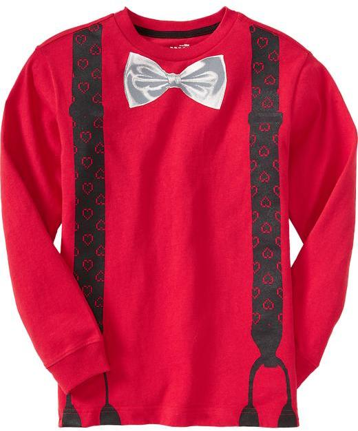Old Navy Boys Bow-Tie/Suspenders Graphic Long-Sleeve Tees