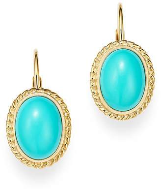 Bloomingdale's Turquoise Bezel Set Earrings in 14K Yellow Gold - 100% Exclusive