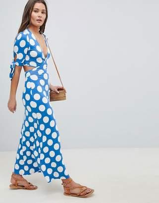Asos Design DESIGN Wrap Front Tea Dress With Bow Sleeve In Polka Dot