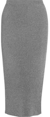 Thierry Mugler Metallic Ribbed Stretch-Knit Midi Skirt