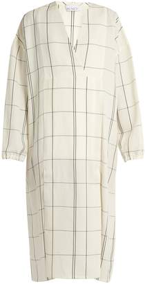 Raey V-neck checked-twill dress