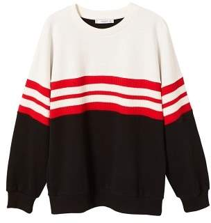 MANGO Striped cotton-blend sweatshirt