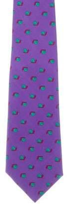 Hermes Snail Print Silk Tie