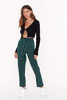 Nasty Gal We're the Jealous Pinstripe Tapered Trousers