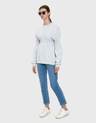 Collina Strada Smocked Crewneck Sweatshirt in Heather Grey