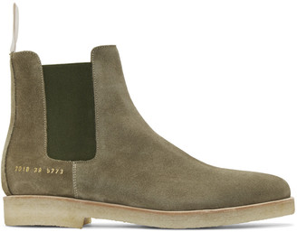 Common Projects Green Suede Chelsea Boots $530 thestylecure.com