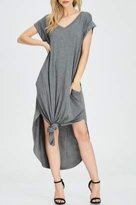 Jolie Grey Front-Tie Dress