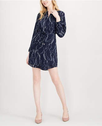 Maison Jules Printed Split-Neck Shirtdress