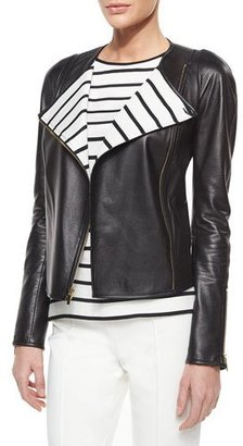 St. John Collection Luxe Napa Leather Striped-Lapel Jacket $2,595 thestylecure.com
