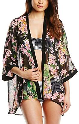 Fever Women Bahamas Cover up Floral 3/4 Sleeve Cardigan,Size