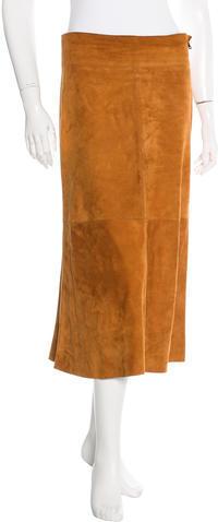 Dolce & GabbanaDolce & Gabbana Suede Midi Skirt