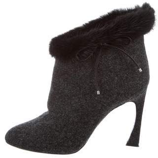 Christian Dior Wool Fur-Trimmed Booties