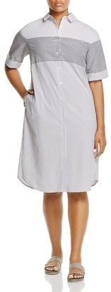 Marina Rinaldi Decidere Directional Stripe Shirt Dress $365 thestylecure.com
