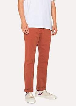 Men's Tapered-Fit Burnt Orange Stretch Pima-Cotton Chinos