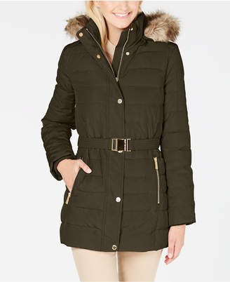 Michael Kors Faux Fur Hooded Belted Down Puffer Coat