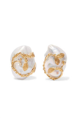 Of Rare Origin Hedera Gold Vermeil Pearl And Diamond Clip Earrings White