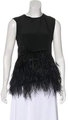 Co Feather-Trimmed Sleeveless Top