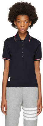 Thom Browne Navy Short Sleeve Polo $370 thestylecure.com