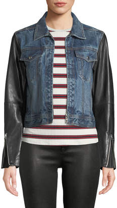 Rag & Bone Nico Zip-Front Denim Jacket with Leather Sleeves