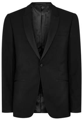 Topman Mens Black Skinny Tuxedo Jacket With Satin Lapel