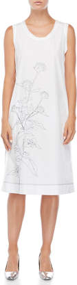 Jil Sander White Floral Embroidered Midi Dress