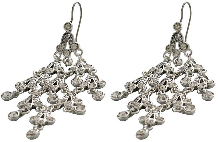 Trifari ® silver tone simulated crystal chandelier earrings