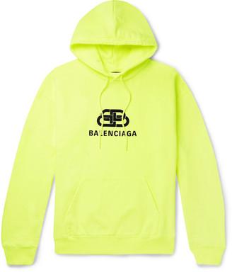 Balenciaga Logo-Print Loopback Cotton-Jersey Hoodie - Men - Yellow