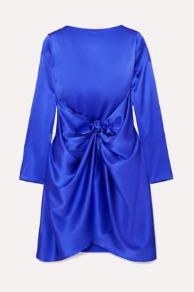 BERNADETTE - Judy Cape-effect Stretch-silk Satin Mini Dress - Cobalt blue