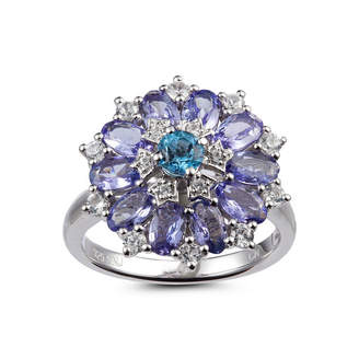 FINE JEWELRY Womens Blue Blue Topaz Sterling Silver Cluster Ring