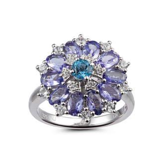 FINE JEWELRY Womens Blue Topaz Sterling Silver Flower Cluster Ring
