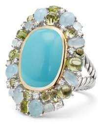 David Yurman Mustique Statement Ring With Turquoise, Peridot, Milky