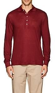 Massimo Alba Men's Slub Linen Polo Shirt - Red