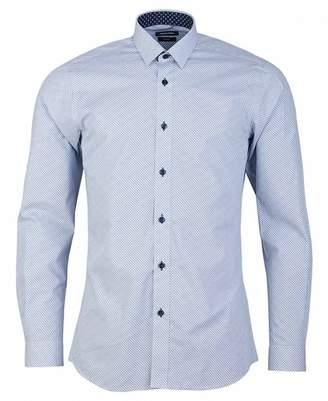 Remus Uomo Small Pattern Shirt Colour: NAVY, Size: 15