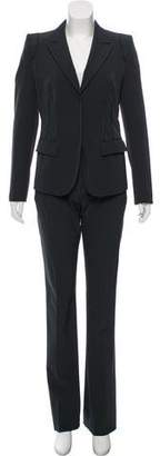 Prada Leather-Trimmed Mid-Rise Pantsuit