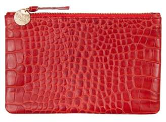 Clare Vivier Croc Embossed Leather Wallet Clutch