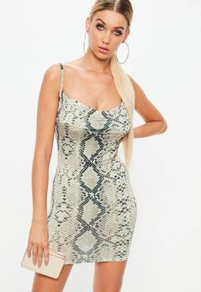 Missguided Petite Beige Snake Print Cowl Dress