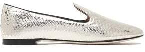 Giuseppe Zanotti Metallic Snake-Effect Leather Slippers