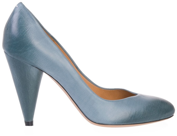 MAISON MARTIN MARGIELA - Petrol blue leather high heel pumps