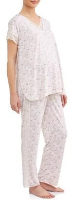 Nanette Lepore Nanette Maternity Sleepwear Maternity Nursing Cap Sleeve Top and Pants Sleep Set