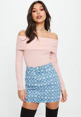 Missguided Pink Long Sleeve Fold Over Bardot Crop Top