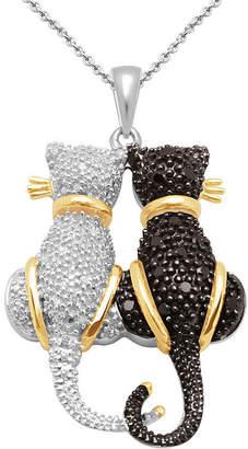Black Diamond FINE JEWELRY CT. T.W. White & Double Cat Pendant Necklace