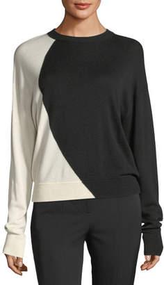 Theory Colorblocked Oversized Intarsia Crewneck Cashmere-Silk Sweater