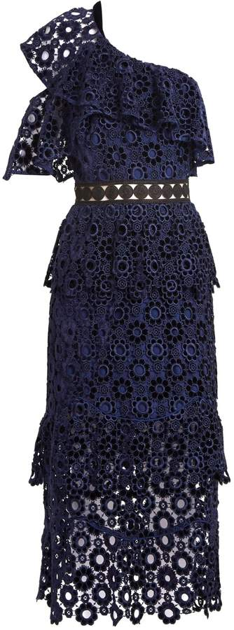 SELF-PORTRAIT One-shoulder tiered floral-lace midi dress