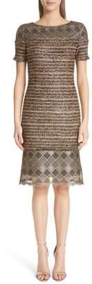 St. John Flashy Gold Stripe Knit Dress